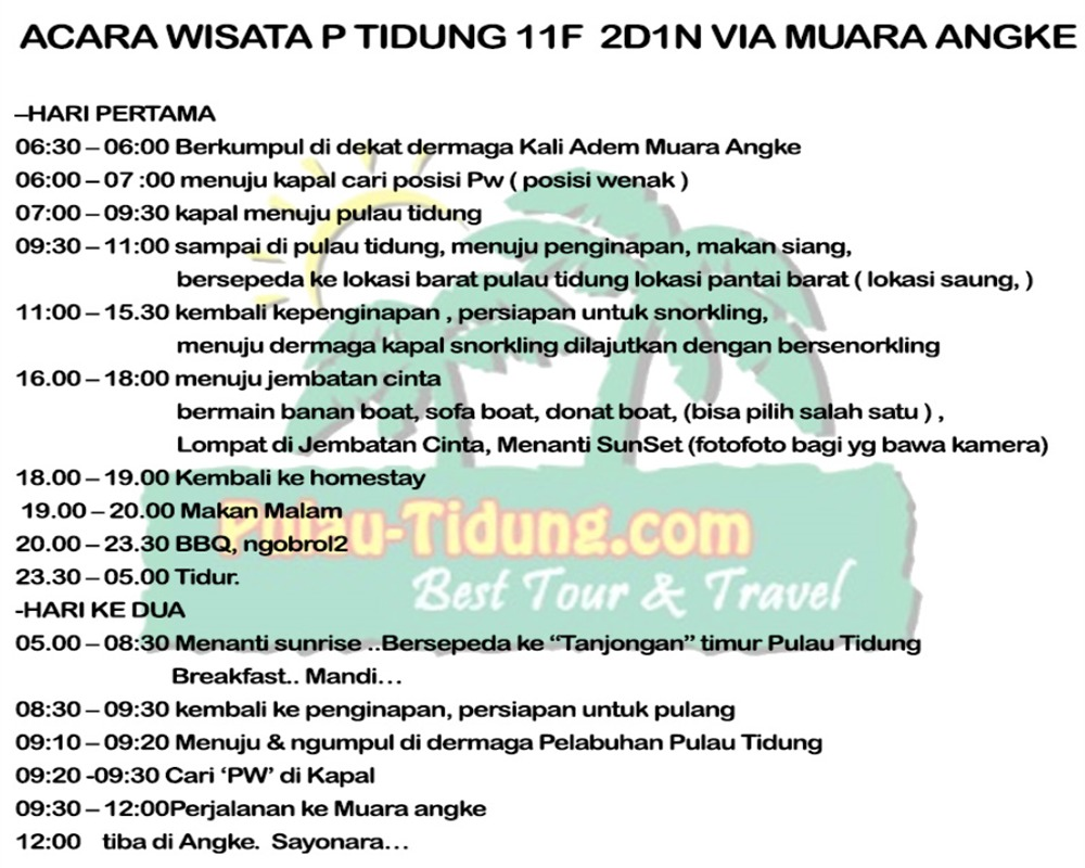 Pulau Tidung Harga Paket Tour Wisata 2018 Acara 2 Hari 1 Malam P Paling Komplit Via Kapal Fery Kali Adem