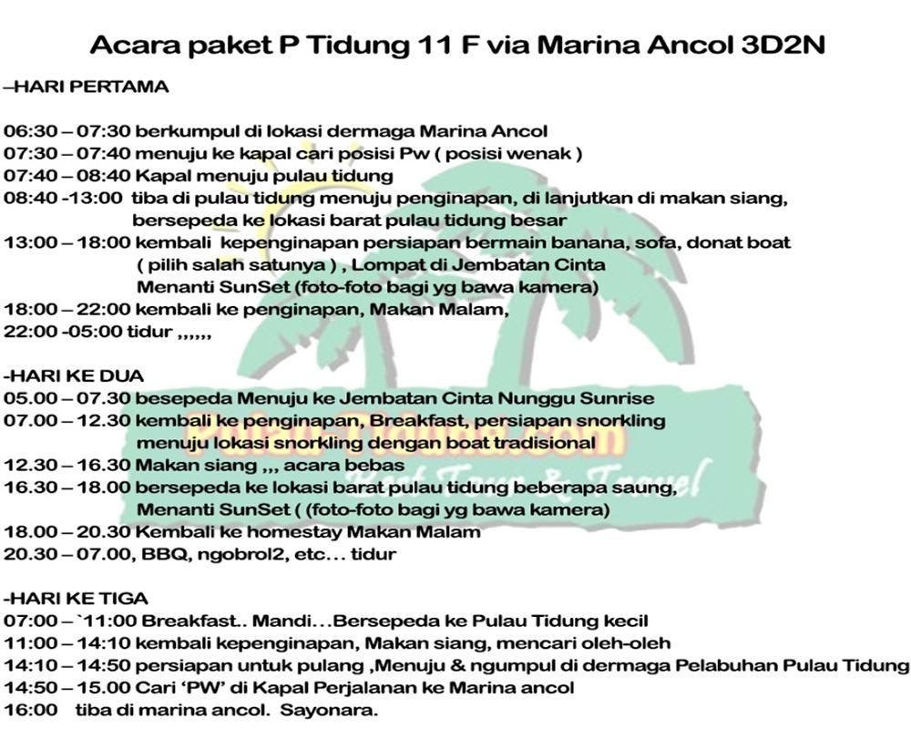 Pulau Tidung Harga Paket Tour Wisata 2018 Voucher Pramuka Acara 3 Hari 2 Malam P Paling Komplit Via Kapal Speedboat Marina Ancol