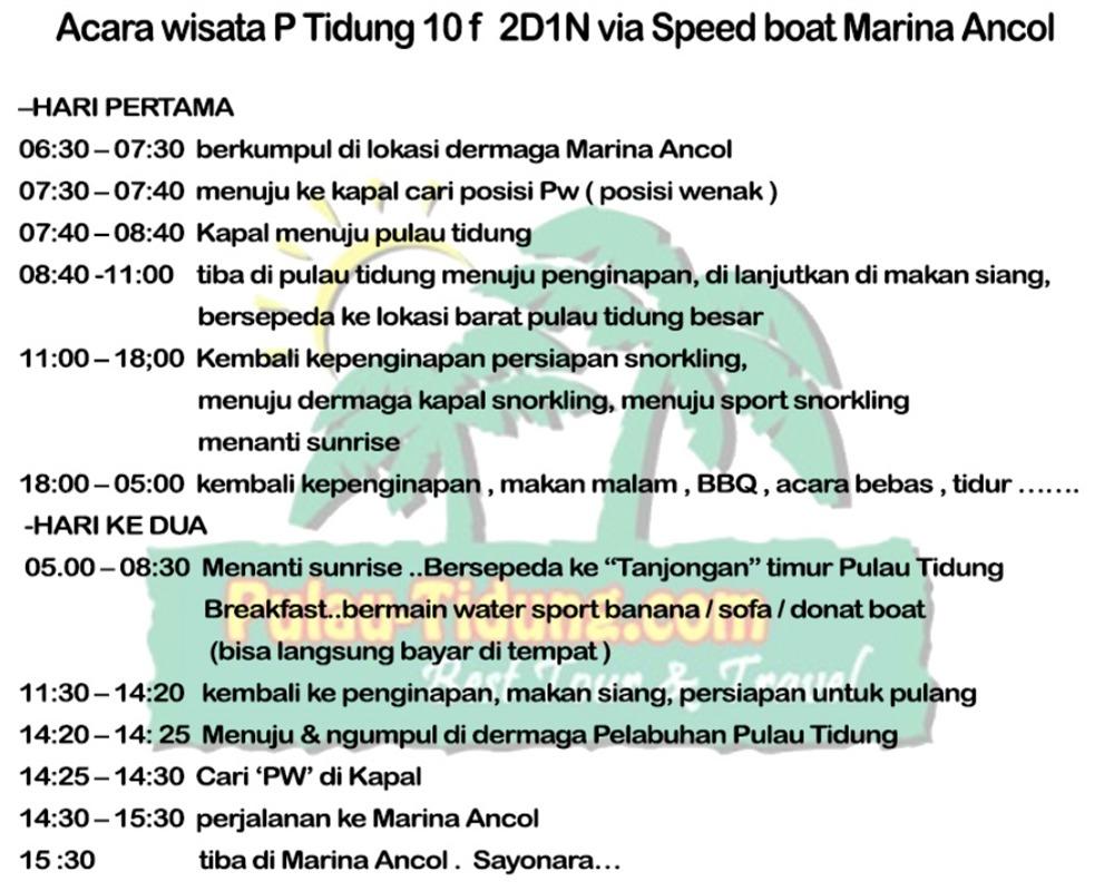Pulau Tidung Harga Paket Tour Wisata 2018 Voucher Pramuka Acara 2 Hari 1 Malam P Komplit Via Kapal Speedboat Marina Ancol